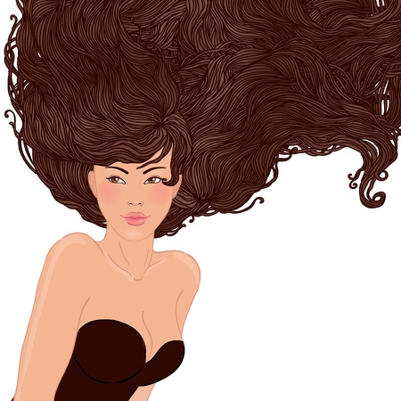 Beauty Salon: Pretty young asian woman with beautiful long hair isolated in white. Vector illustration