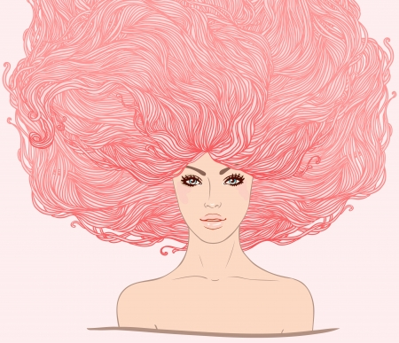 Beautiful white girl with long pink hair. Vector illustration.