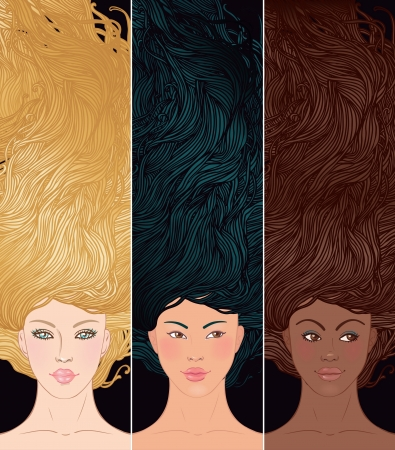complexion: Beauty Salon: Set of portraits of pretty young woman with beautiful  hair (african-american, asian, and caucasian girl). Vector illustration