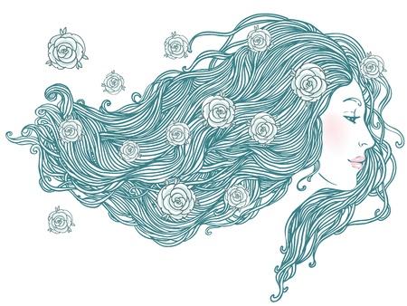 Salon de beauté: Portrait de jeune femme vue de profil avec de beaux cheveux longs. Vector illustration