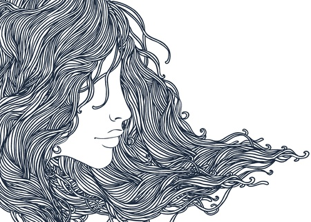 Portrait of pretty young woman in profile view with long beautiful hair illustration  Vector
