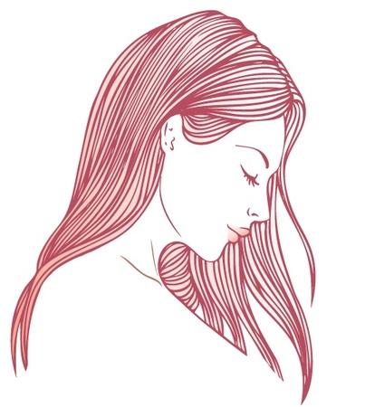 Portrait of pretty young woman in profile view with long beautiful hair illustration  Illustration