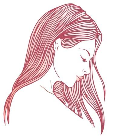 Retrato de mujer joven y bonita en vista de perfil con largo cabello hermoso ilustración Foto de archivo - 24537652