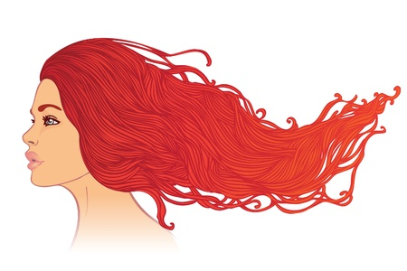 Beauty Salon: Portrait of pretty young woman in profile view with long beautiful red hair. Vector illustration  Vector