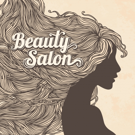 Vintage Beauty Salon: Portrait of pretty young woman in profile view with long beautiful hair. Vector illustration.  Vector