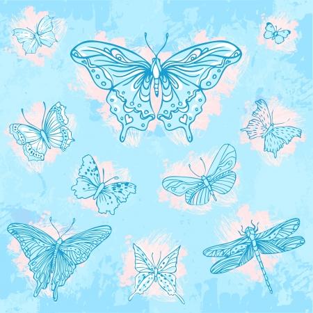 wedding reception decoration: Vintage hand-drawn butterflies set on blue