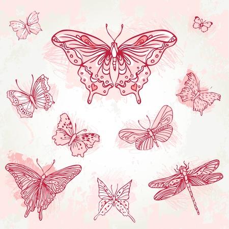 Vintage hand-drawn pink  butterflies set. Illustration.