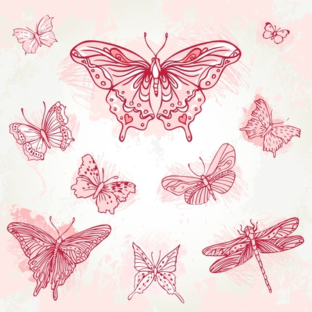dragonfly wings: Vintage hand-drawn pink  butterflies set. Illustration.
