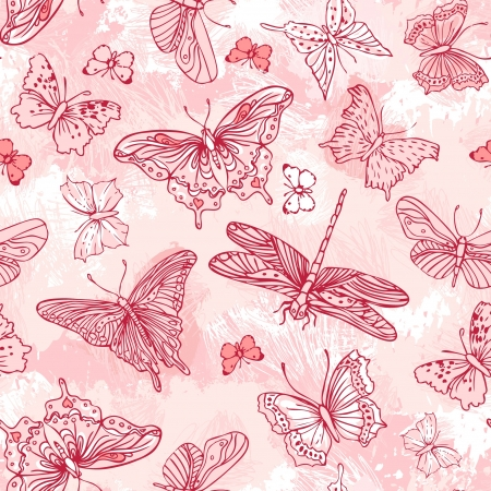 romantically: Seamless pattern with butterflies