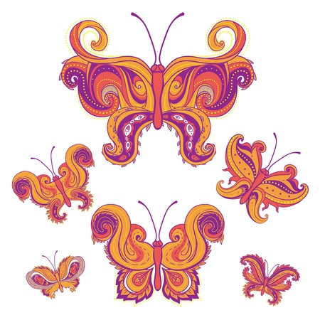 Set of paisley butterflies isolated on white background. Hand-Drawn ornate vector illustration design elements.  Vector
