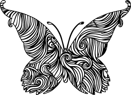 Abstract delicate black and white vector butterfly design  Vector