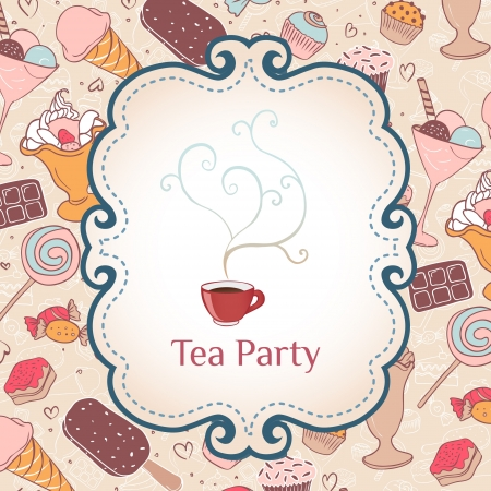 party food: Tea party invitation vintage style frame. Vector illustration over pattern with candies and sweets