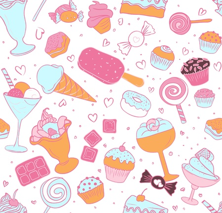 White seamless candy pattern  Vector