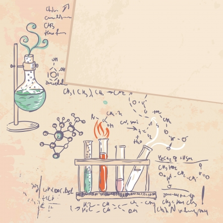 condensation on glass: Old chemistry laboratory vector background in vintage style