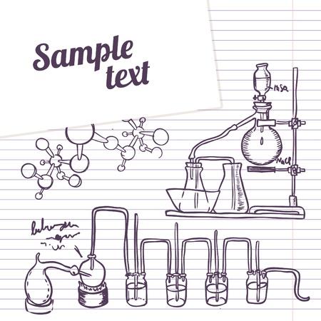 destilacion: Escuela notebook laboratorio de química de vectores de fondo en el estilo vintage Vectores