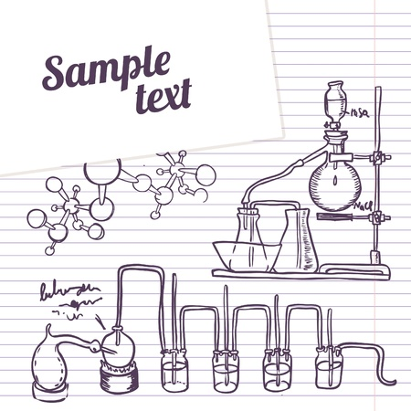 distillation: School notebook chemistry laboratory vector background in vintage style
