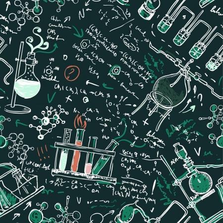 진한 녹색 학교 보드에 오래 된 화학 실험실 원활한 패턴입니다. 벡터 배경