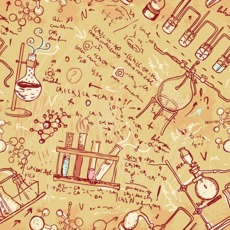 Old chemistry laboratory seamless pattern. Vector background in vintage style Vector