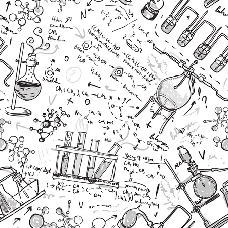 Old chemistry laboratory seamless pattern  Vector background in vintage style