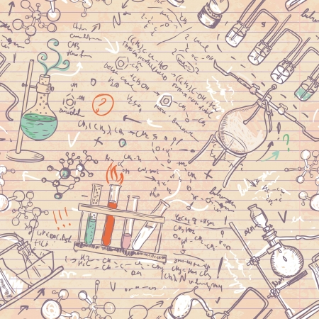 Old chemistry laboratory seamless pattern. Vector background in vintage style Stock Vector - 20394152