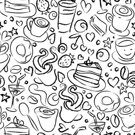 あなたの設計のためのコーヒー タイム、黒と白のシームレスな背景