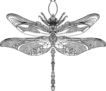 machine: Abstract Animal: Steampunk dragonfly  Illustration