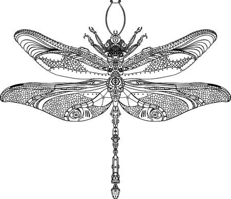 zeichnung: Abstrakt Tier: Steampunk Libelle