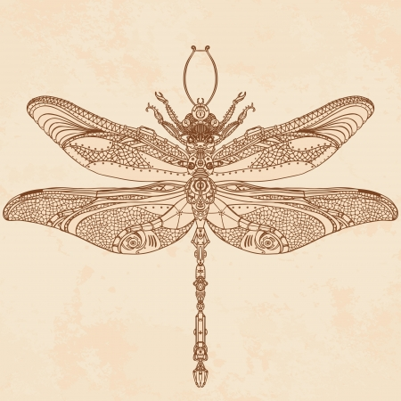 dragonflies: Abstract Animal: Steampunk dragonfly Illustration
