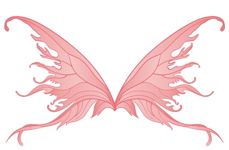 silueta de angel: Par de alas de hadas rosadas aisladas en blanco Vectores