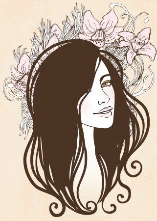 Vector illustration of beautiful woman with floral pink background. Vintage style vector illustration.  Vector