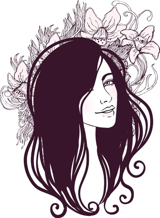Vector illustration of beautiful woman with floral background
