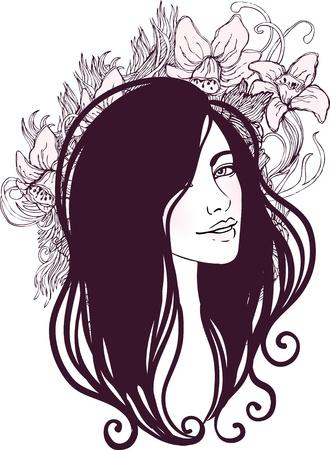 Vektor-Illustration der schönen Frau mit floral background Standard-Bild - 20394034