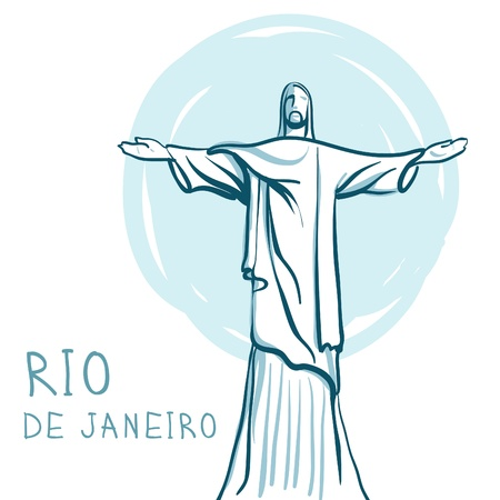 World famous landmark series: Rio De Janeiro and Christ the Redeemer, Brazil Vector