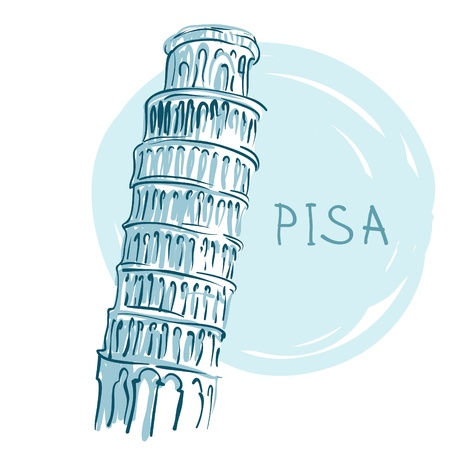World famous landmark series: The Leaning Tower, Pisa, Italy, Europe Illustration
