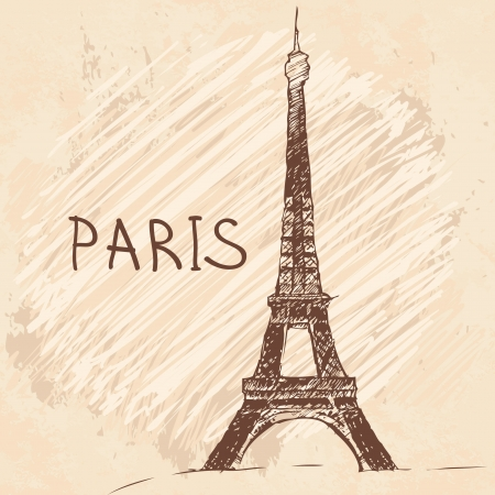 World famous landmark series: Eiffel Tower, Paris, France  Vector