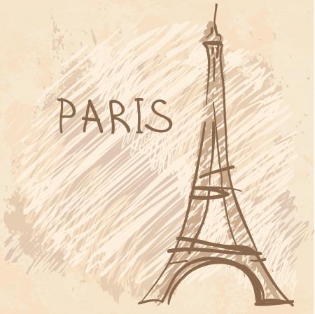 World famous landmark series: Eiffel Tower, Paris, France Illustration