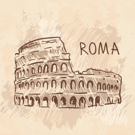 World famous landmark series: Colosseum, Rome, Italy Vector