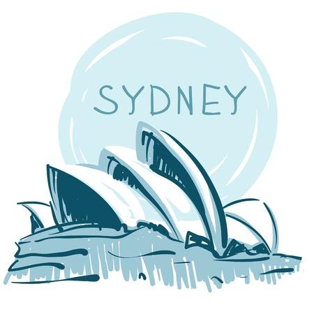 世界の有名なランドマーク シリーズ: シドニーのオペラハウス, シドニー, オーストラリア.  イラスト・ベクター素材