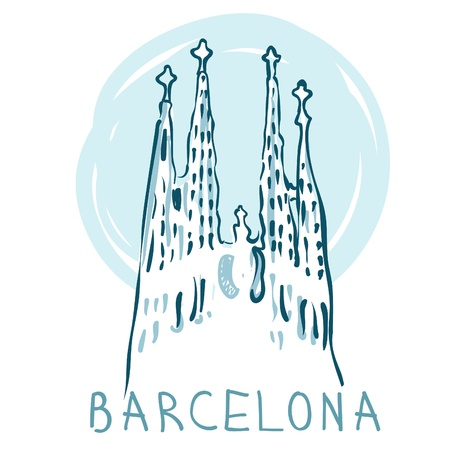 World famous landmark series: La Sagrada Familia,  Barcelona, Spain. Vector