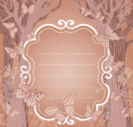 Brown background with trees, stars and butterflies. A place for your text.  Vector