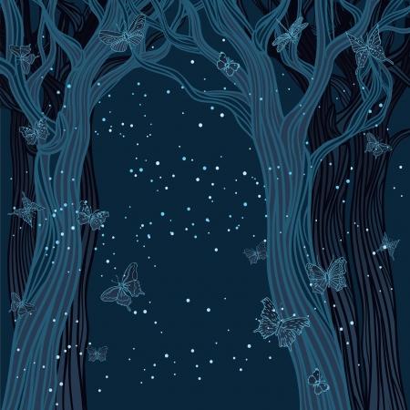 Fondo de la noche mágica con árboles, estrellas y mariposas. Un lugar para el texto Ilustración de vector