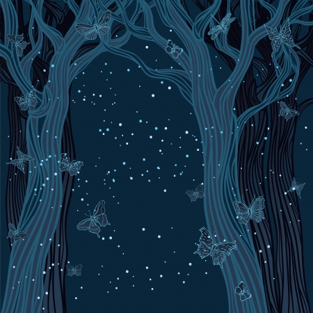 mystical forest: Magical night background with trees, stars and butterflies. A place for your text