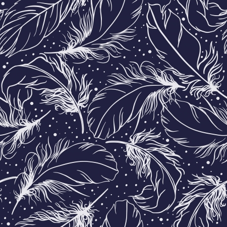 Vintage seamless pattern with feathers in deep blue