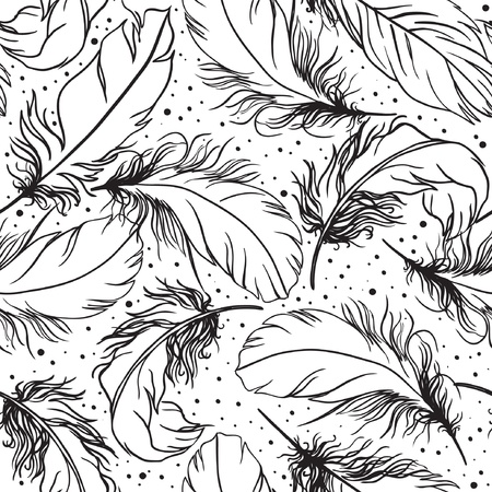hand drawn seamless vector pattern with feather Vector
