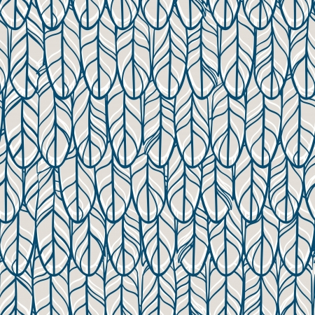 Vintage seamless pattern with hand-drawn feathers. Vector illustration.
