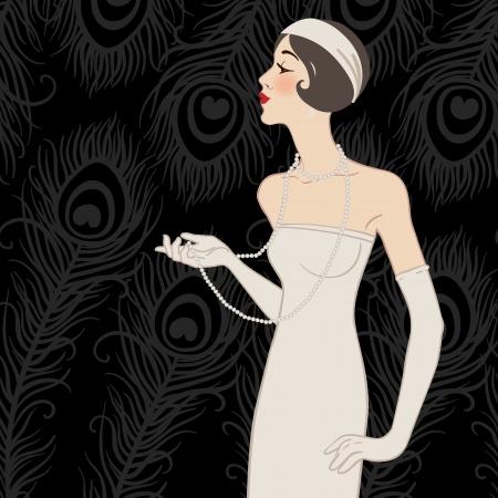 flapper: Muchacha de la aleta: Diseño invitación de la fiesta retro (negro)