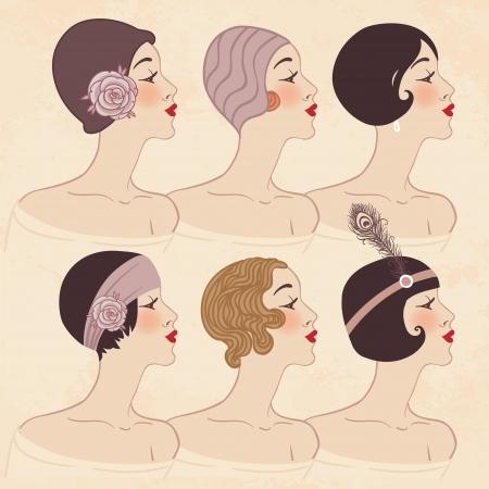 flapper: Aleta de las muchachas: peinado, tocado y maquillaje de 1920 Vectores