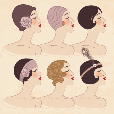 Flapper girls set: Hairstyle, headdress and makeup of 1920s Vector
