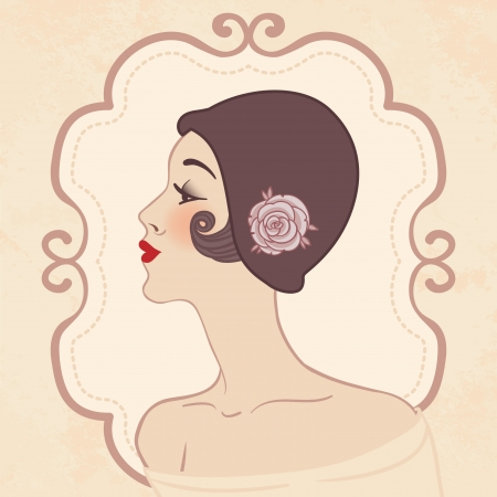 flapper: Flapper girl  Retro party invitation design illustration  Illustration