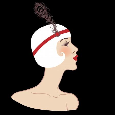 flapper: Muchacha de la aleta del partido ilustración invitación diseño retro
